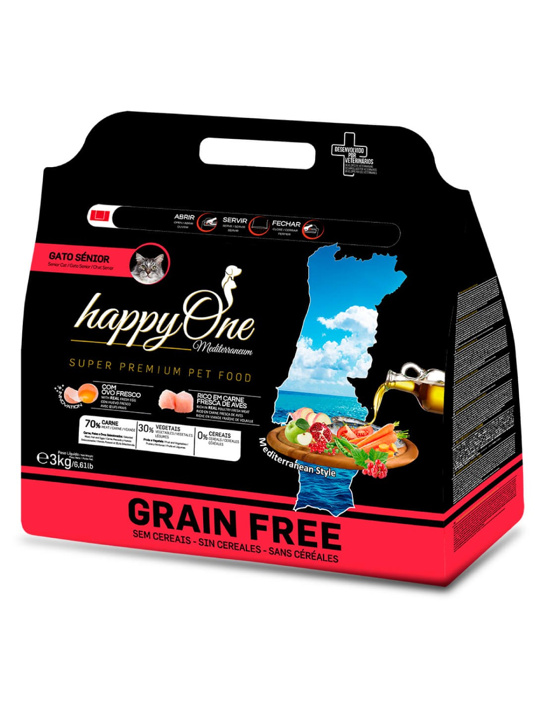 HAPPY ONE Grain Free Senior Ave 3kg - Pienso para gatos
