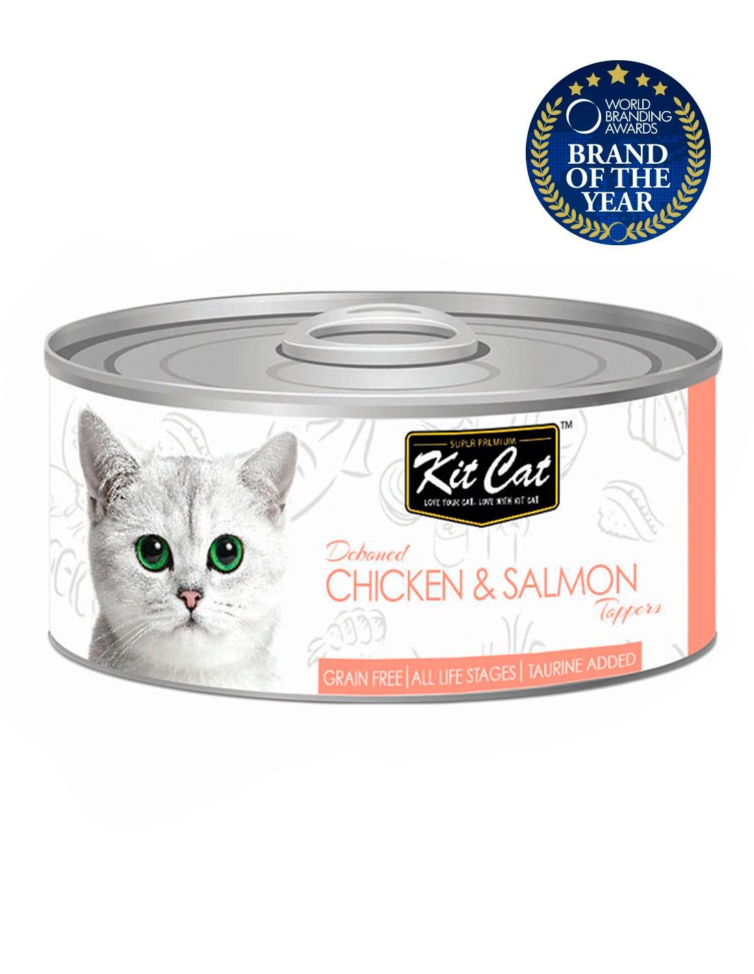 KIT CAT Pollo con Salmón 80g - Comida húmeda para gatos