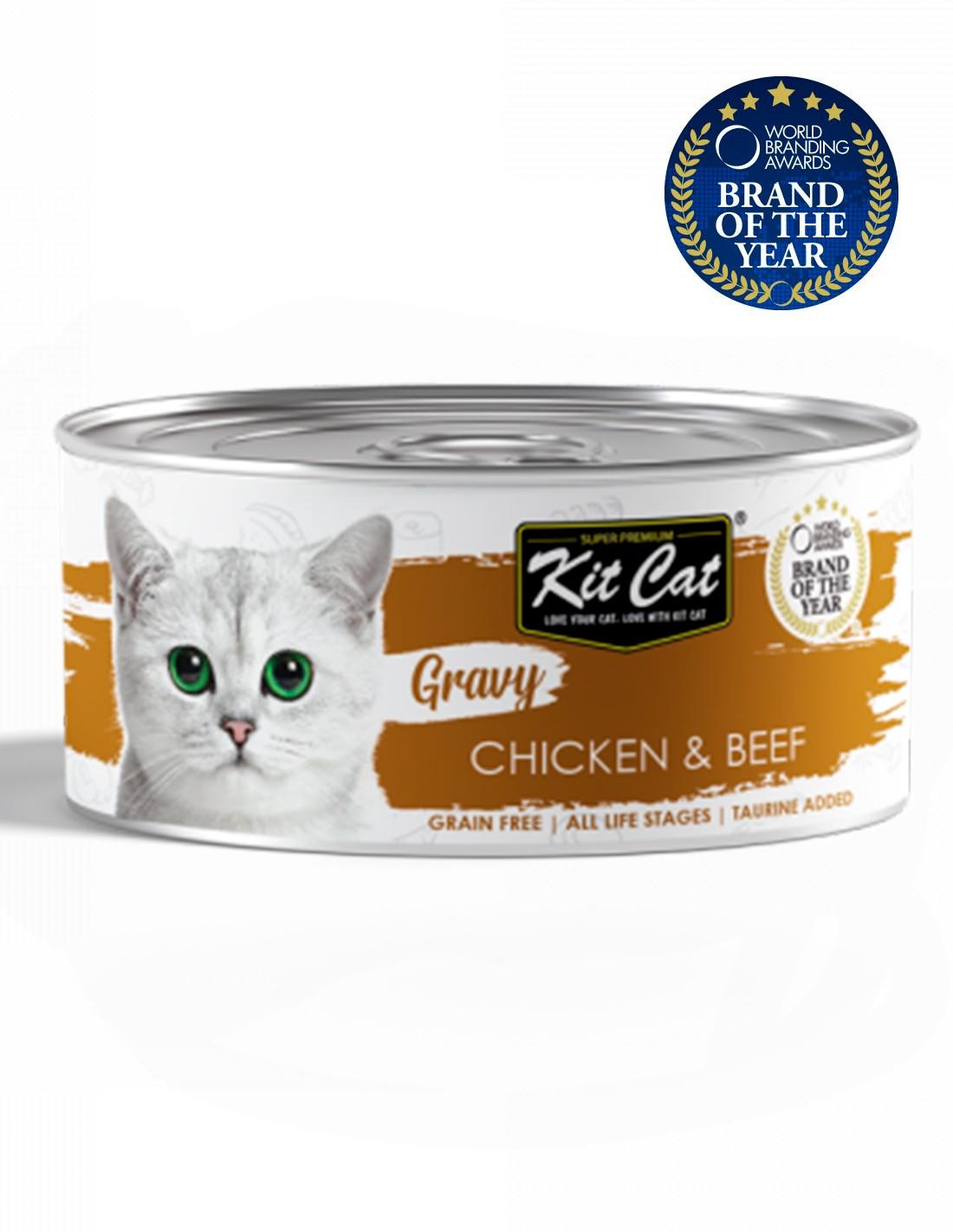 KIT CAT Gravy Pollo con Ternera 70g en salsa Comida gatos