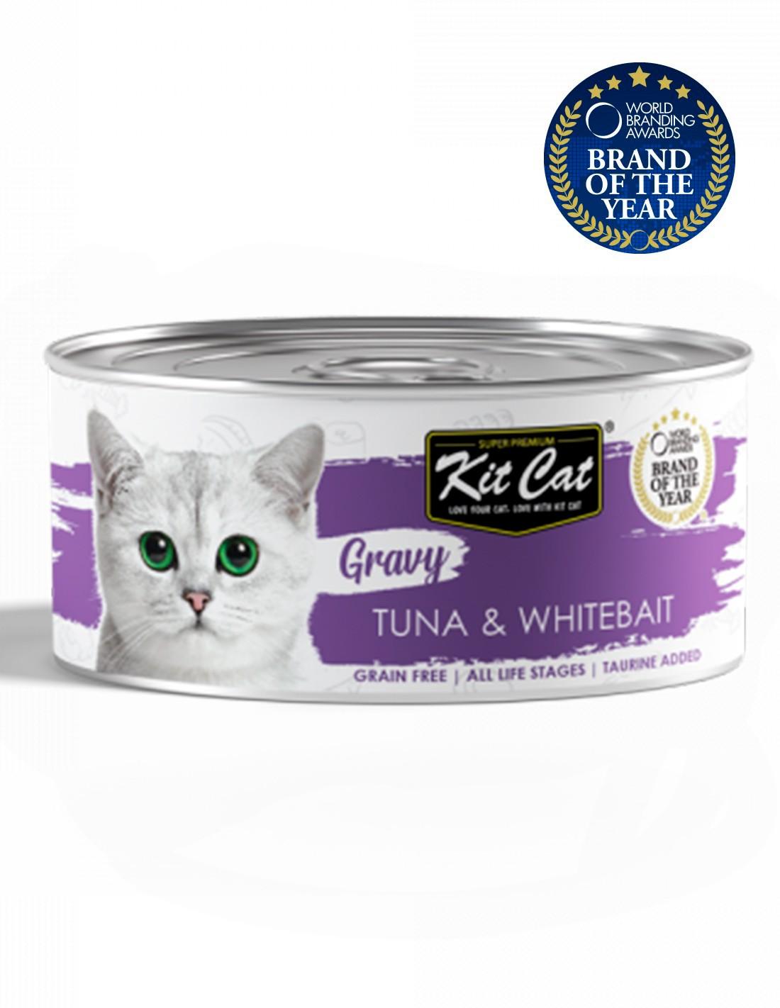 KIT CAT Gravy Atún con Chanquetes 70g en salsa Comida gatos