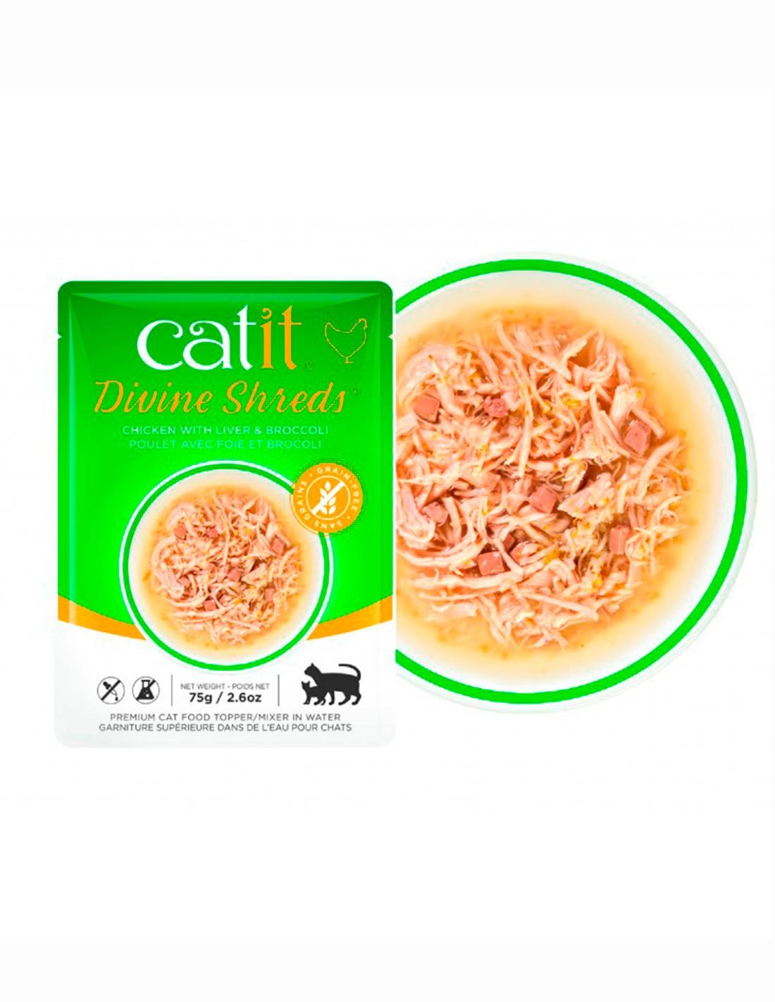Catit Shreds Pollo Hígado y Brócoli 75g - comida húmeda gato