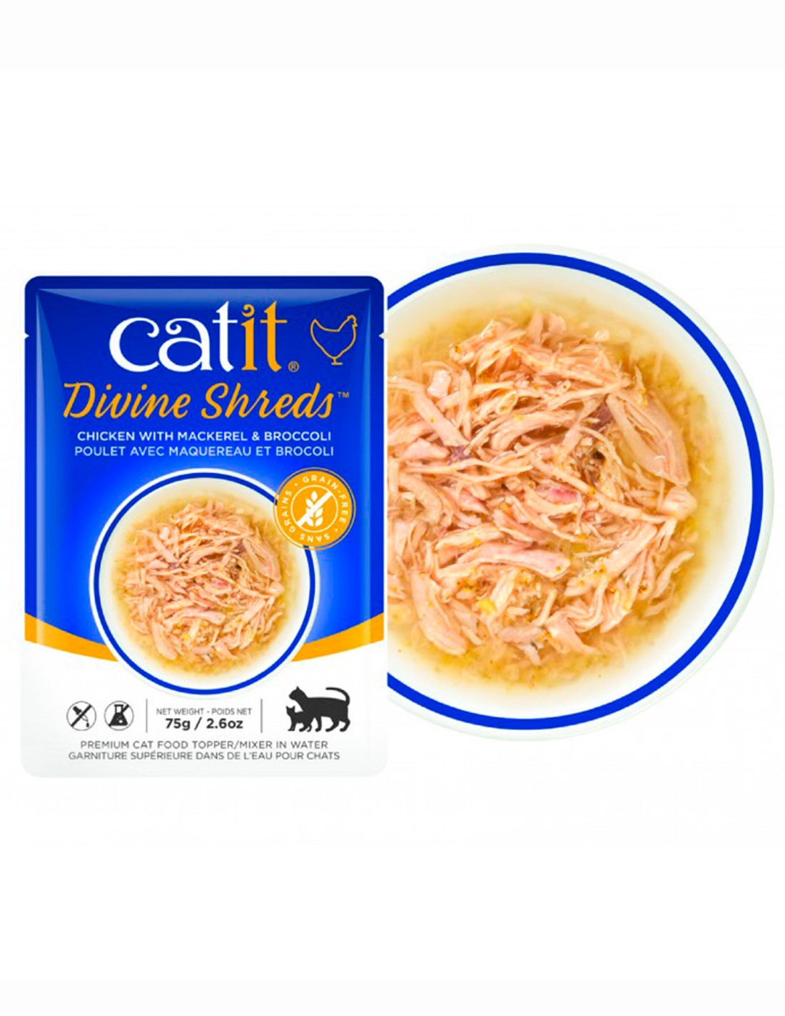 Catit Shreds Pollo Caballa y Brócoli 75g -comida húmeda gato