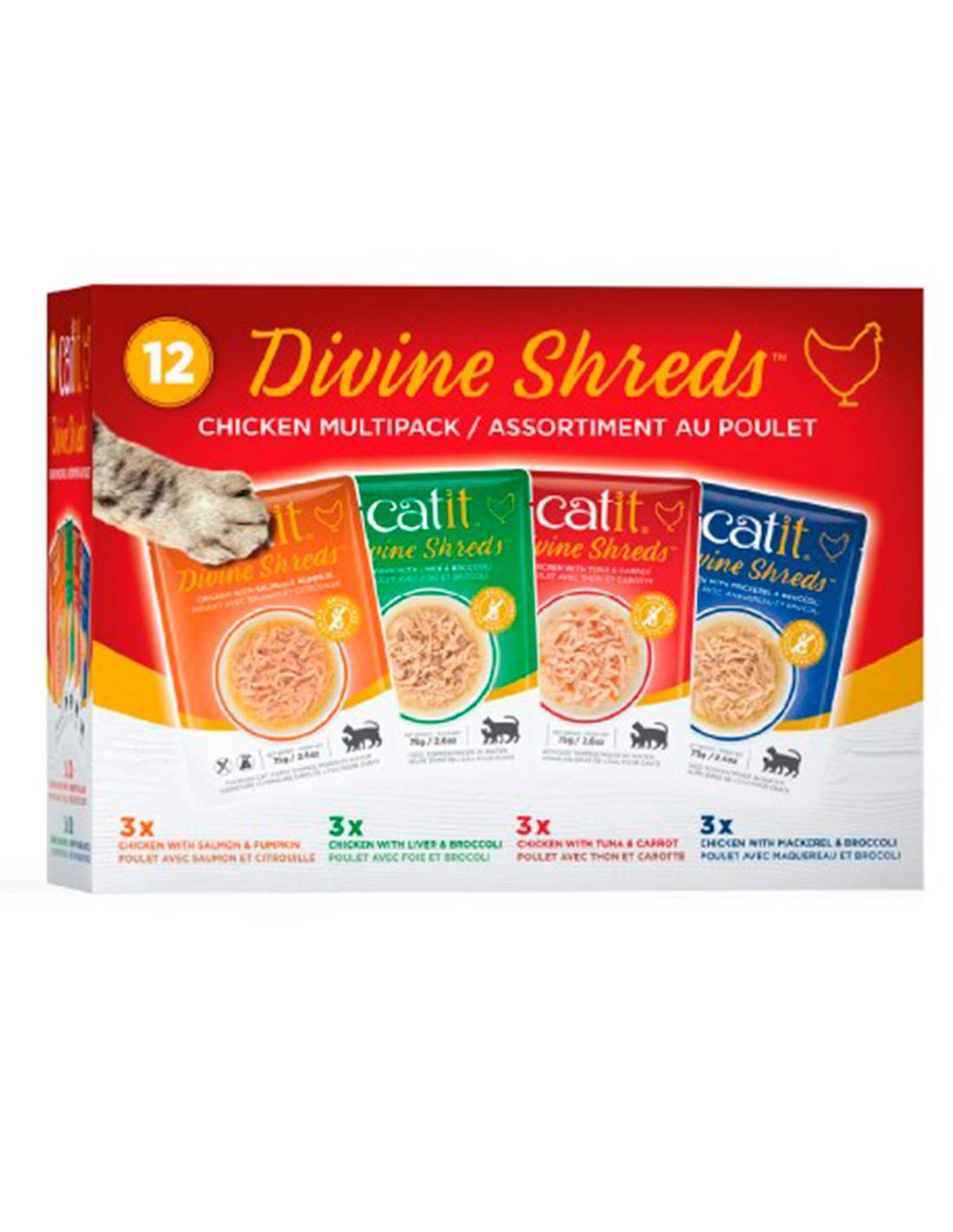 Catit Shreds Multipack Pollo 12x75g Pouch comida húmeda gato