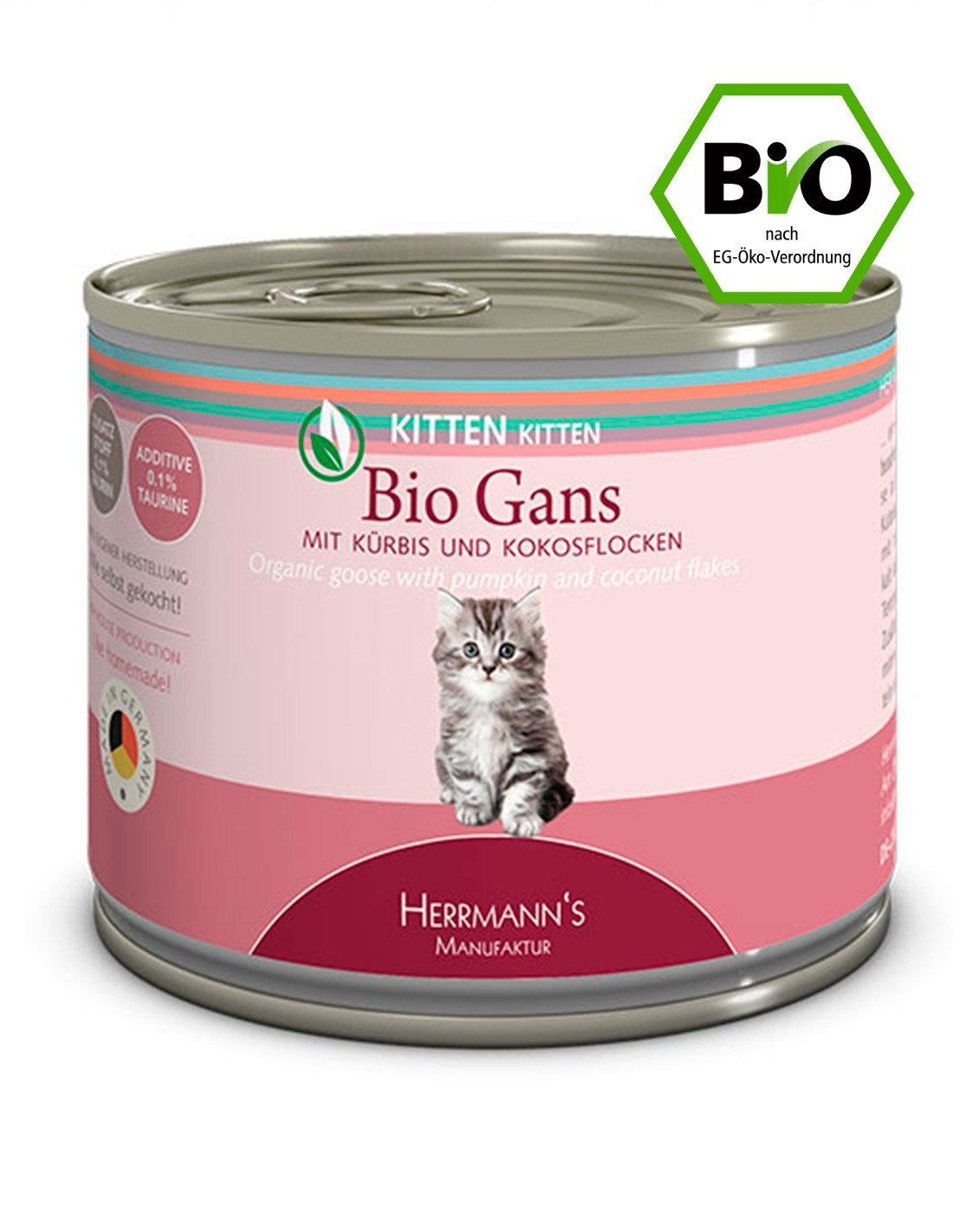 HERRMANN'S Ganso y Calabacín 200g Comida húmeda BIO Kitten