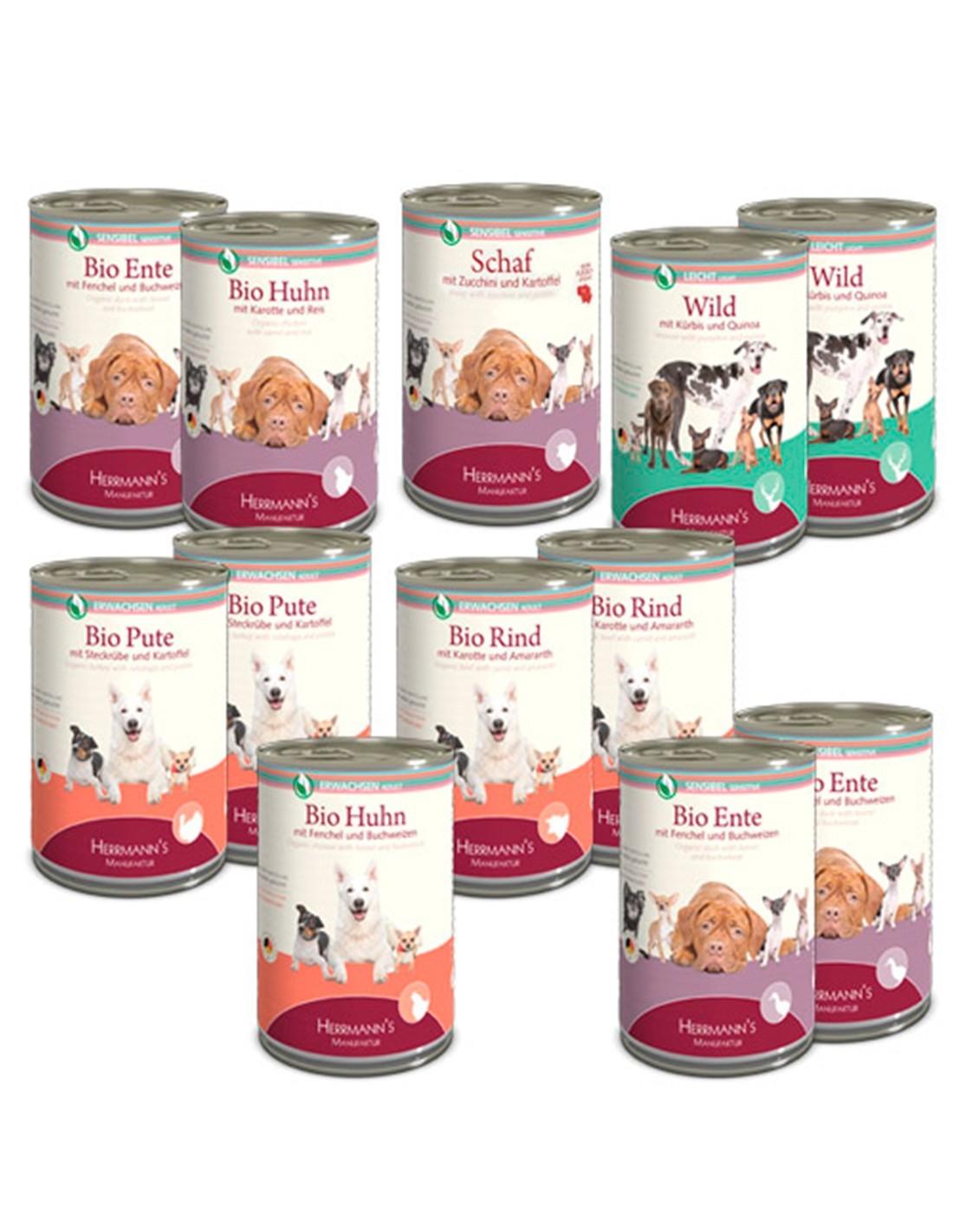 HERRMANN'S Pack Degustación 12 x 400g comida húmeda perros