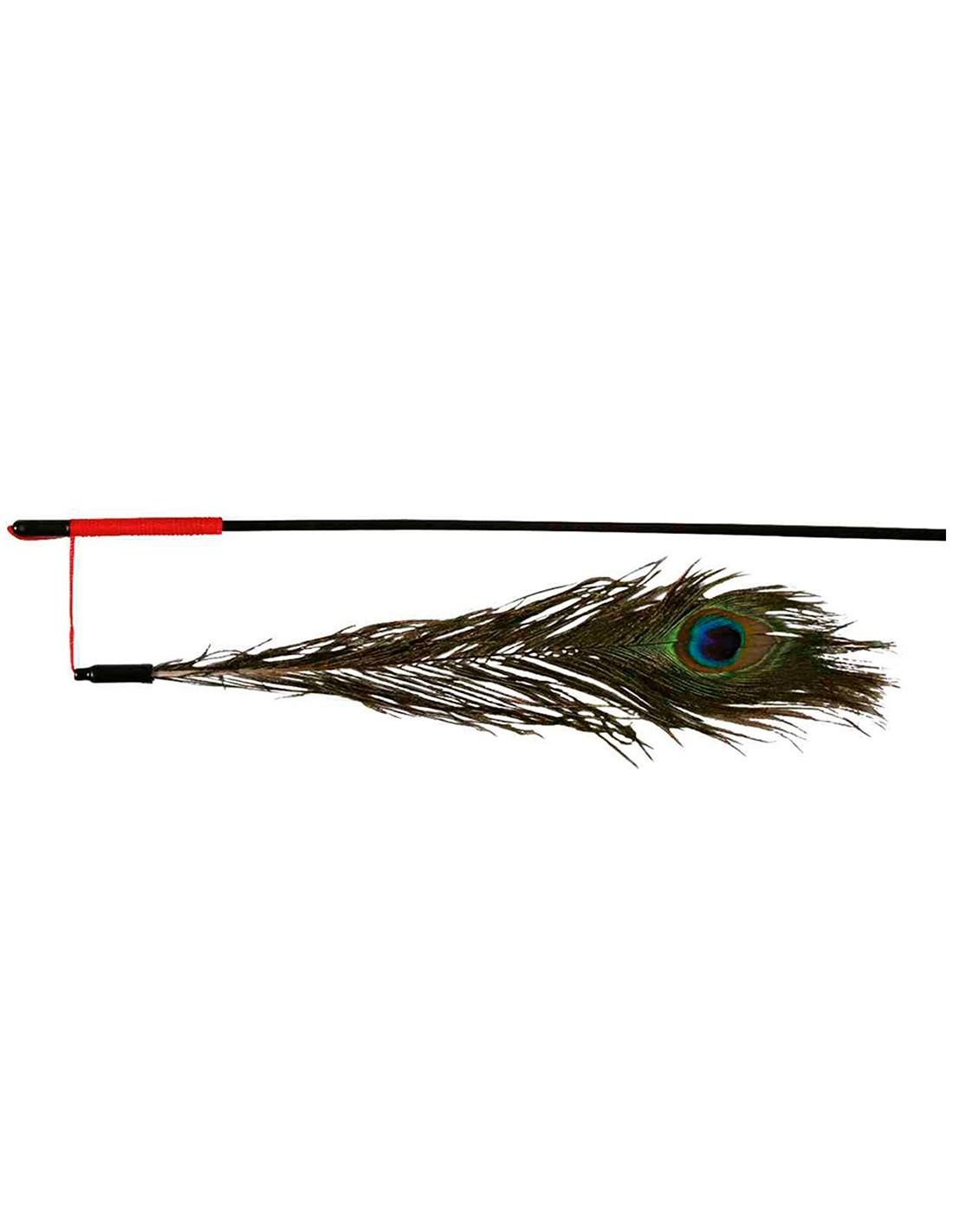 Varita con plumas Pavo Real juguete para gatos 47cm