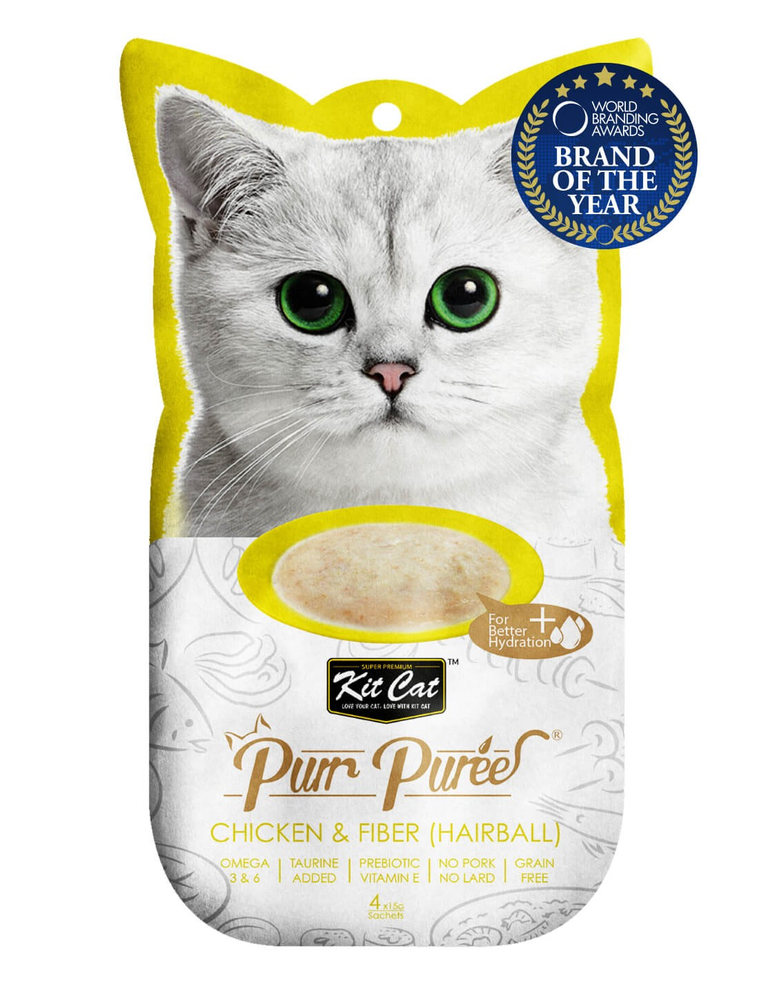 KIT CAT PurrPuree Pollo y Fibra Hairball 60g