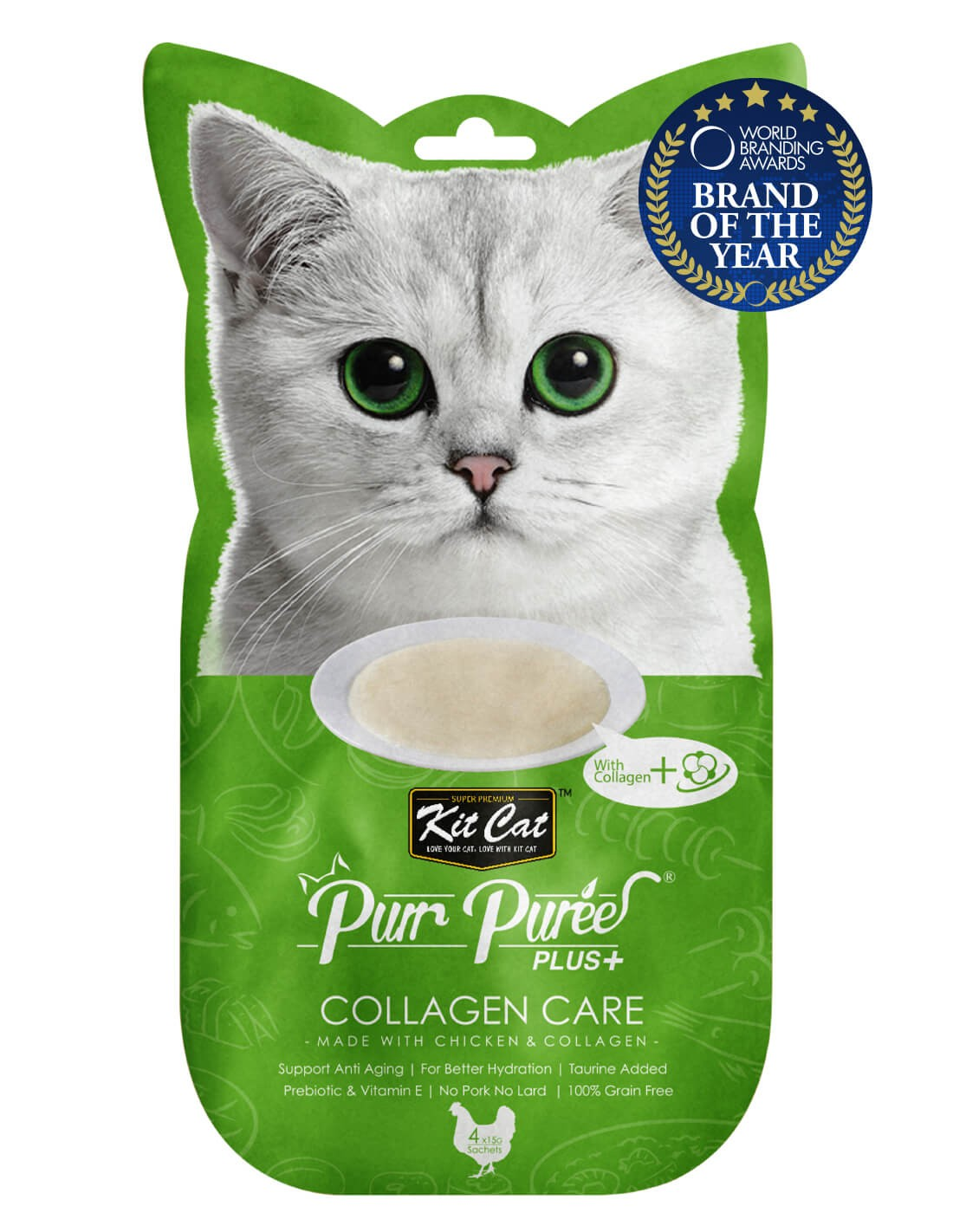 KIT CAT PurrPuree Pollo y Colágeno - Collagen Care 60g