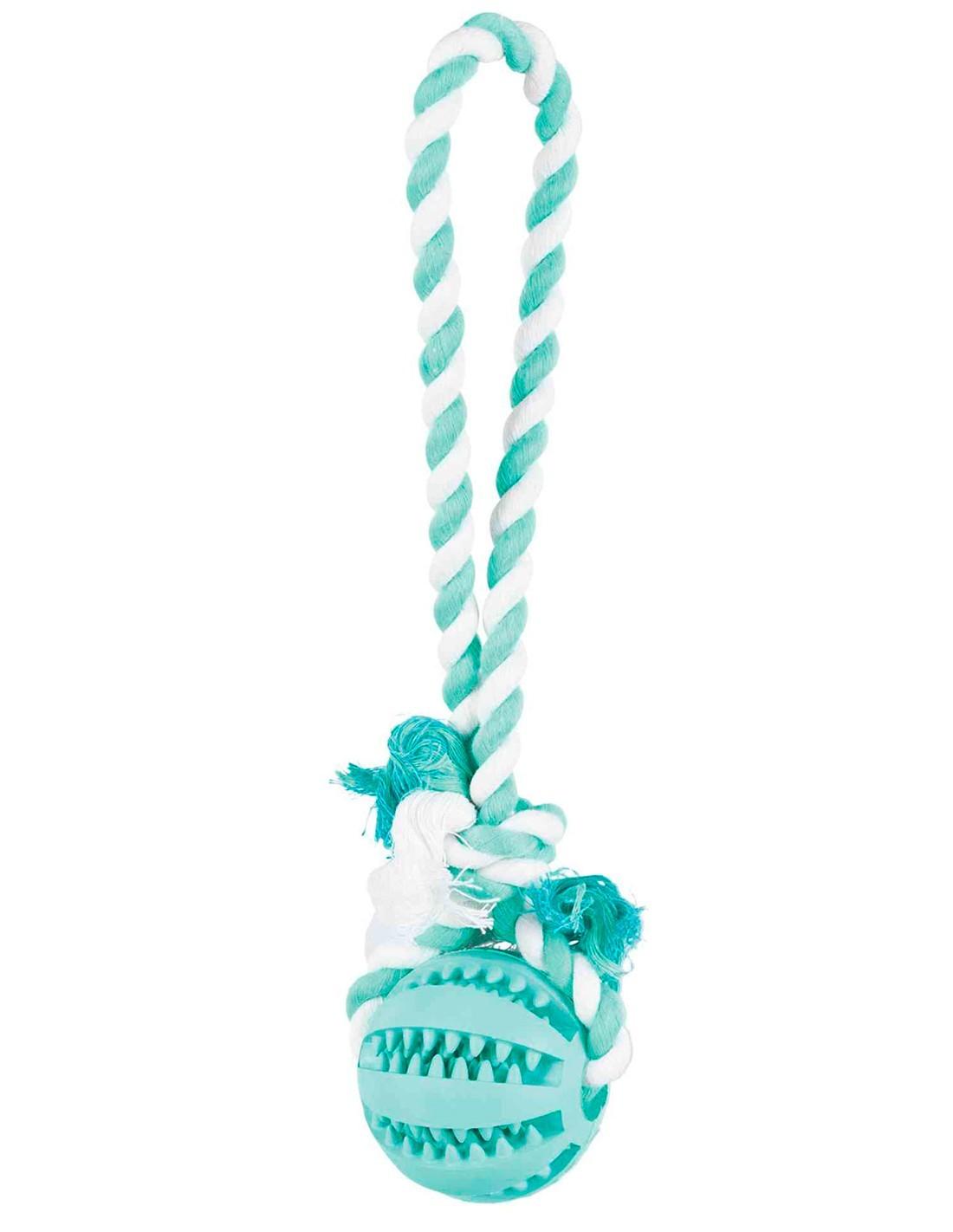 Pelota dental con sabor a menta y cuerda Trixie